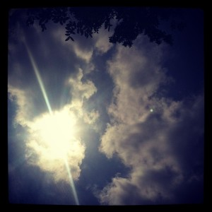 sun piercing clouds