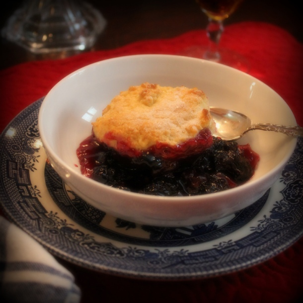 Blackberry Peach Cobbler, recipe, Gourmet