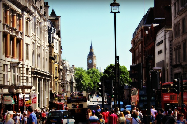London street toward Big Ben (Photo by Amy Watson Smith, July 2013)